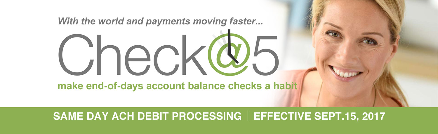 Check at 5 same day ach debit processing